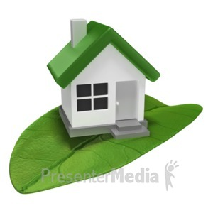 ID# 9628 - House On Leaf - Presentation Clipart