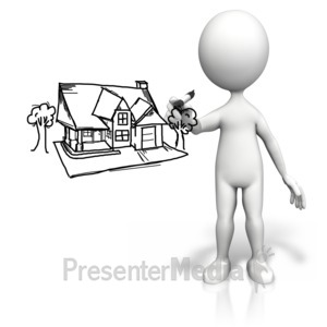 ID# 9637 - Stick Figure Drawing House - Presentation Clipart