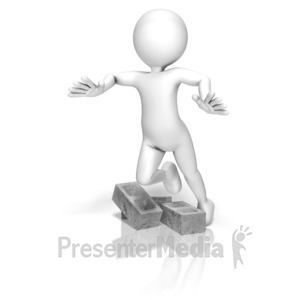 ID# 9649 - Stick Figure Trip Cinder Blocks - Presentation Clipart