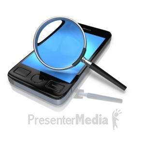 ID# 9656 - Magnify Glass Searching Phone - Presentation Clipart