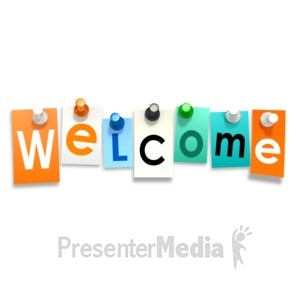 ID# 9661 - Welcome Thumb Tacks - Presentation Clipart