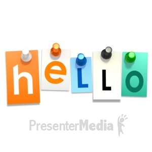 ID# 9683 - Hello Thumb Tacks - Presentation Clipart