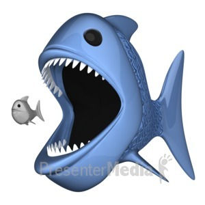 ID# 9719 - Big Fish Eat Little One - Presentation Clipart