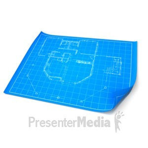 ID# 9722 - Opened Blueprint - Presentation Clipart