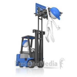 ID# 9735 - Forklift Careless Incident - Presentation Clipart