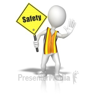 ID# 9760 - Stick Figure In A Safety Vest Holding A  - Presentation Clipart
