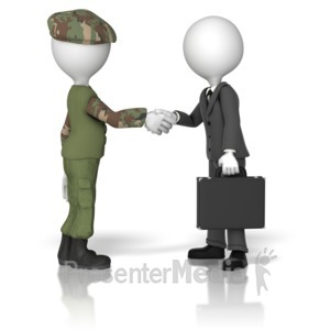 ID# 9795 - Military Business Handshake - Presentation Clipart