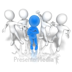 ID# 9796 - Stick Figure Group Bullying - Presentation Clipart