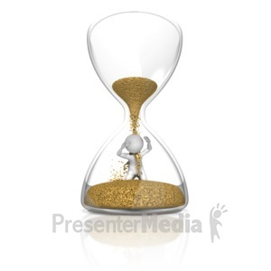 ID# 9839 - Stick Figure In Hourglass - Presentation Clipart