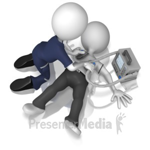 ID# 9870 - Emt Using Defibrillator On Figure - Presentation Clipart