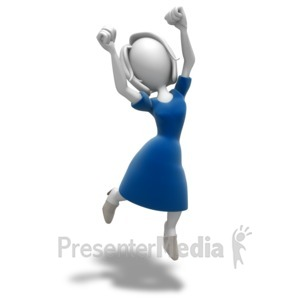 ID# 9913 - Woman Jumping Celebration - Presentation Clipart