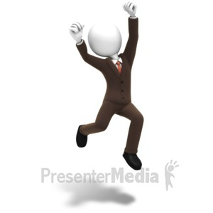 ID# 9914 - Man Jumping Celebration - Presentation Clipart