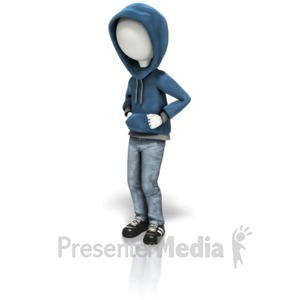ID# 9925 - Stick Figure In Hoodie - Presentation Clipart