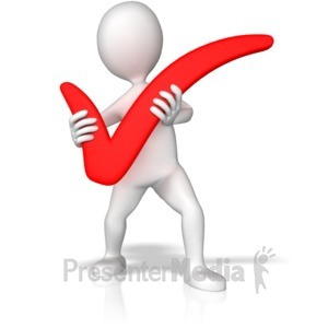 ID# 9950 - Stick Figure Holding Check Mark - Presentation Clipart