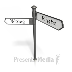 ID# 9959 - Right And Wrong - Presentation Clipart