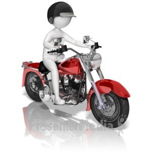 ID# 9960 - Stick Figure On Motorcycle - Presentation Clipart