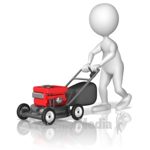ID# 10021 - Figure Pushing Lawnmower - Presentation Clipart