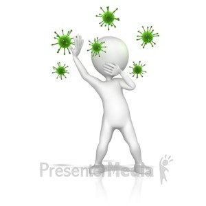 ID# 10028 - Figure Fending Off Virus Spores - Presentation Clipart