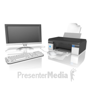 ID# 10084 - Computer With Printer - Presentation Clipart
