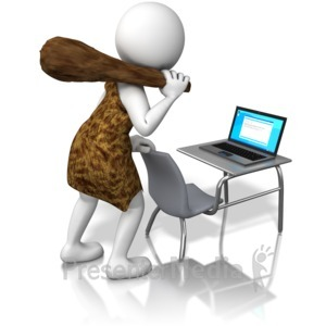ID# 10104 - Caveman at Laptop - Presentation Clipart