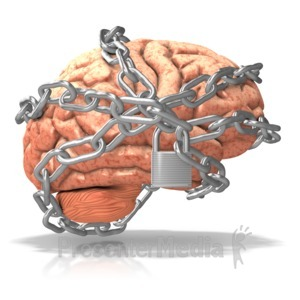 ID# 10112 - Brain Locked Up in Chains - Presentation Clipart