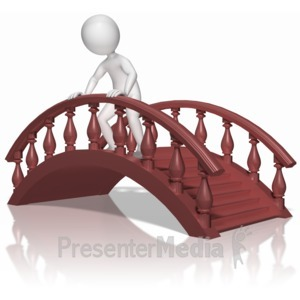 ID# 10157 - Stick Figure On Bridge - Presentation Clipart