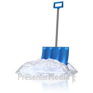 ID# 10200 - Shovel In Snow - Presentation Clipart