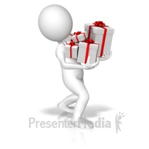 ID# 10201 - Figure Carrying Christmas Presents - Presentation Clipart