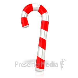 ID# 10203 - Single Candy Cane - Presentation Clipart