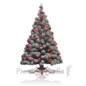 ID# 10215 - Flocked Christmas Tree Red Bulbs - Presentation Clipart