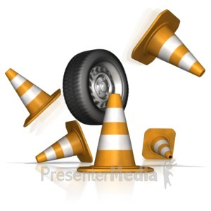 ID# 10339 - Tire Crash Through Safety Cones - Presentation Clipart