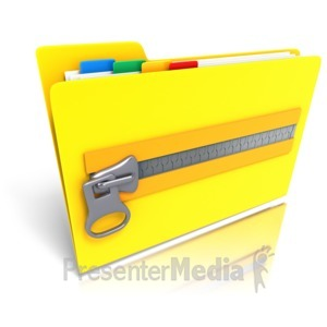 ID# 10363 - Folder Files Zipped Up - Presentation Clipart