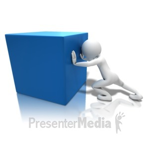 ID# 10368 - Pushing Heavy Box - Presentation Clipart