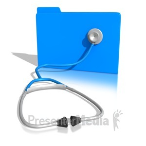 ID# 10458 - Stethoscope On a Folder - Presentation Clipart