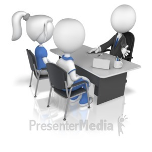 ID# 10680 - Business Figure With Clients - Presentation Clipart