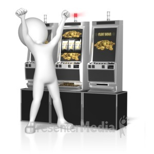 ID# 10772 - Figure Slot Machine Win - Presentation Clipart