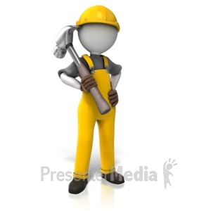 ID# 10776 - Construction Worker Hammer - Presentation Clipart