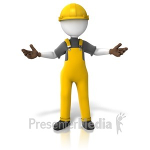 ID# 10777 - Construction Worker Presenting Two Sides - Presentation Clipart