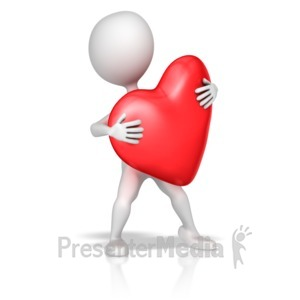 ID# 10867 - Stick Figure Holding Heart - Presentation Clipart