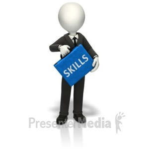 ID# 10904 - Businessman Skills Briefcase - Presentation Clipart