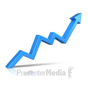 ID# 10928 - Arrow Climbing Upward - Presentation Clipart