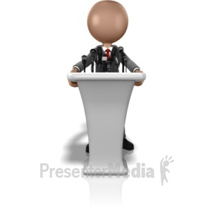 ID# 10936 - Business Figure Talking Podium - Presentation Clipart
