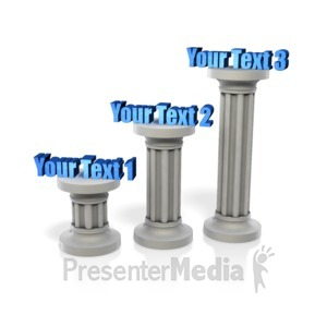 ID# 10967 - Three Pillar Staggered Height Text - Presentation Clipart