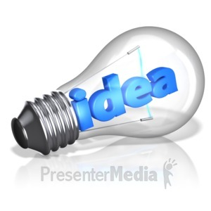 ID# 10969 - Idea Text In Light Bulb - Presentation Clipart