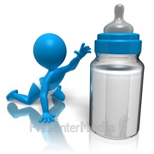 ID# 10993 - Baby Reaching For Bottle - Presentation Clipart