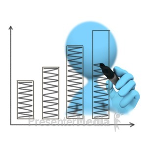 ID# 10998 - Figure Drawing Bar Graph Increase - Presentation Clipart