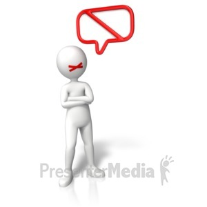 ID# 11004 - Figure No Talking Symbol - Presentation Clipart