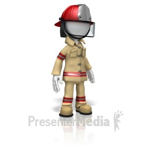 ID# 11078 - Firefighter Stand - Presentation Clipart