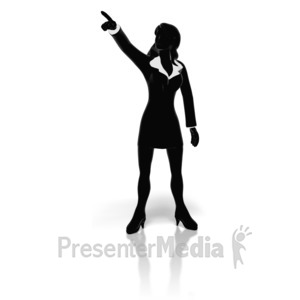 ID# 11133 - Businesswoman Pointing - Presentation Clipart
