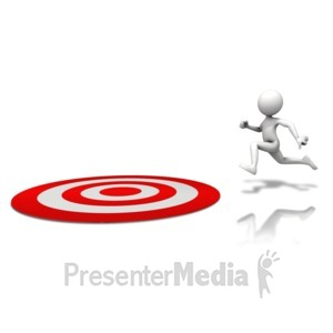 ID# 11137 - Figure Running To Target - Presentation Clipart